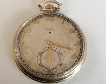 Elgin 10K Gold Filled Pocket Watch, 21 Jewels ELGIN Pocket watch, Railroad Quality, Goldfilled Pocket Watch Circa 1938, Vintage Pocket Watch