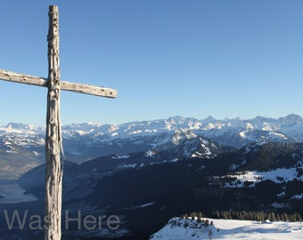 Switzerland Cross on Mountain Print