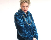 Vintage 90s Soft Fluffy Blue Faux Fur Chunky Raver Cyber ClubKid Jacket Bomber with Collar LE CHATEAU Size Small Womens