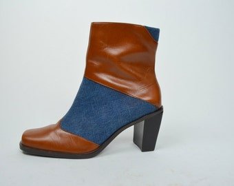 Delaney | 6.5 | 1990s Vintage Denim & Leather Ankle Booties 90s Fall Boots