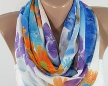 Floral Scarf Summer Scarf Blue Scarf Shawl Women Fashion Accessory Infinity Scarf Circle Scarf Fashion Scarf Christmas Gifts For Her For Mom