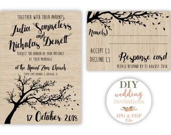 Printable Wedding Invitation Set, Custom Wedding Invitation, Tree Invitation, Rustic Invitation, Digital file Invitation, DIY Invitation