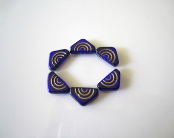 Cobalt Blue Gold Carved Triangle Czech Glass Beads Blue Carved Triangle Czech Beads Blue Matte Beads 12mm (10 pcs) 36V6