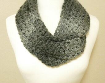 Gray Ombre Crochet Infinity Scarf