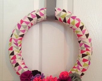 Colorful geometric, Spring/Summer Wreath, 14""