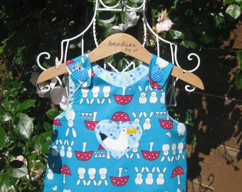 Reversible Dress, girls pinafore, bunny design, retro style, shift dress, 2 in 1, chintzy,,rabbit, floral, applique seagull, hearts