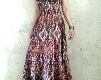 "Long Summer Dress Floral Dress Summer Maxi Dress Womens Bohemian Maxi Peasant  Dress ""Gypsy* CDGL005"