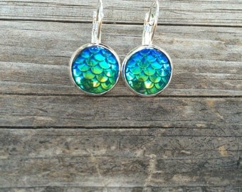 Green Mermaid Scale Earrings, Mermaid Earrings, Leverback Earrings