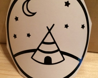Teepee Vinyl Decal, Vinyl Stickers, Laptop Decal, Car Sticker, Teepee Laptop Sticker, Car Decal