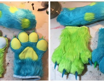 Green and Blue Spotted Fursuit Handpaws and Tail