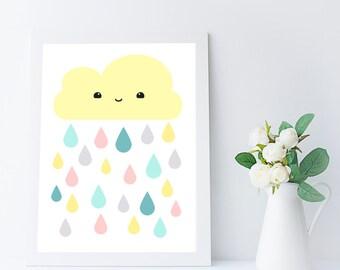 girl nursery art print - cloud decor - baby wall art printable - girl room decor - printable kids gift - kid room wall art - A4 - 8x10 in