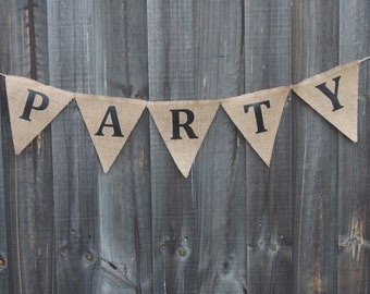 Burlap / Hessian PARTY banner.