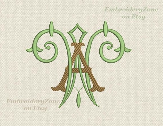 Double antique monograms from old books a w embroidery