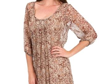 Silk Chiffon Dress - Chocolate Mocha Floral