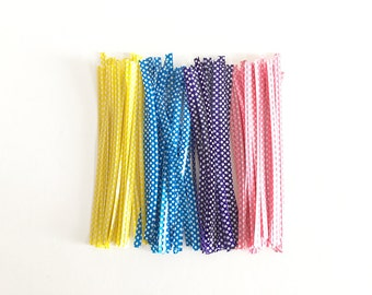 100 pcs Polka Dot Twist Ties Colorful Twist Tie for Cookie Candy Bags Gift Wrap Packaging P0269
