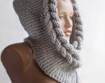 Hooded scarf. Hooded. wool scarf. hood, scarf hooded, chunky scarf, wool cowl, LoveKnittings