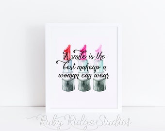 Watercolor Lipstick Wall Art Quote Print, A Smile is the Best Makeup A Woman Can Wear, Fashion Quote, Inspirational Quote, Lipstick Wall Art