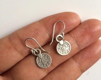 Coin Earrings, Silver Coin Earrings, Boho Earrings, Birthday Gift, British Seller UK, Drop Earrings, Christmas Gift,Mothers Day Gift