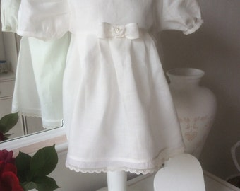 Christening dress or ceremony child in pure linen color ecru size 3-6 months 62-68 cm