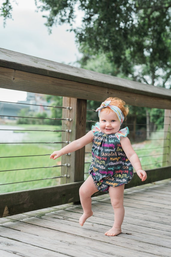 Baby Romper Toddler Romper Flavor of the Day Baby Romper Colorful Romper Flutter Sleeve  Black Pink Mint Yellow Romper