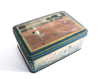 French Biscuit Tin Box, Candy Metal Box, Vintage Storage Box, Blue Green Collectible Sport Box, Tennis, Water-Polo, Rugby, Ski, Petanque