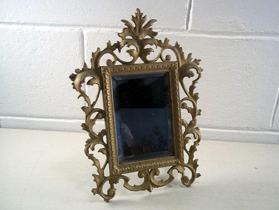 Antique Cast Iron Mirror Ornate Table Mirror Gold Gilt Mirror