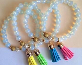 Opal Beaded Tassel Bracelet