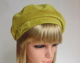 Green velvet hat beret /Black velour tams/Women French cap