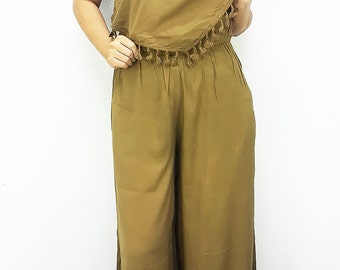 Jumpsuit Wide leg Pants spaghetti strap Amber Jumper Hippie Boho Loose Overalls Jinny pants Casual Summer baggy fashion women