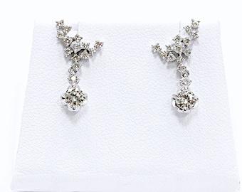 14k Diamond Earrings Wrap Earrings with Dangle