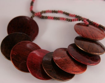 Autumn Boho Necklace Red Orange Brown Wood Wooden Bib Necklace Large Flat Buttons Lacquered Bohemian Necklace