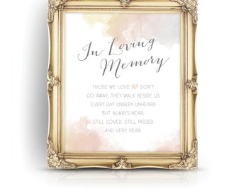 The HAYLEY . In Loving Memory . Watercolor & Calligraphy Wedding sign Blush Gray Gold . Beach Summer Destination Island . Print or PDF