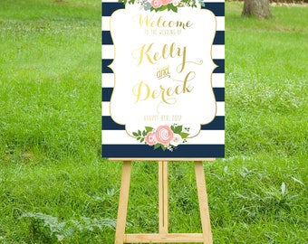 The KELLY . Welcome Wedding Ceremony Sign . Printed on Heavy Paper, Foam Board or Canvas . Stripes & Gold Calligraphy Blush Roses Peonies