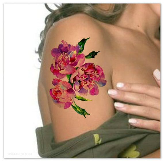 temporary tattoo peony watercolor flower ultra thin realistic. Black Bedroom Furniture Sets. Home Design Ideas