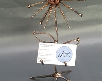 Abstract Welded Metal Flower Business Card Holder