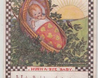 Flora White A/S Circa 1920 Nursery Rhyme Postcard Hush A-Bye Baby