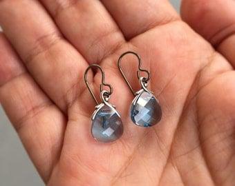 Briolette Earrings, Niobium Earrings, Blue Crystal Earrings, Light Blue Earrings, Hypo Allergenic Earrings, Small Dangle Earrings
