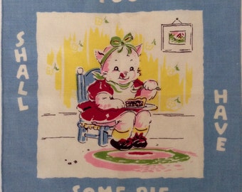 Vintage Nursery Rhyme Three Little Kittens Children's Hanky/Hankie/Handkerchief