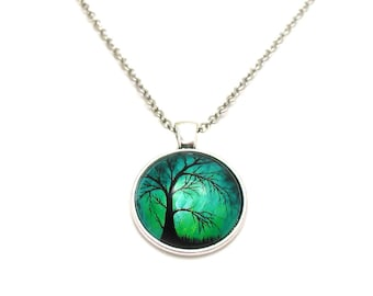 Willow Tree Necklace, Picture Necklace, Forest Charm Necklace, Charm Jewelry, Willow Tree Charm, Tree Jewelry, Weeping Willow Tree Jewelry