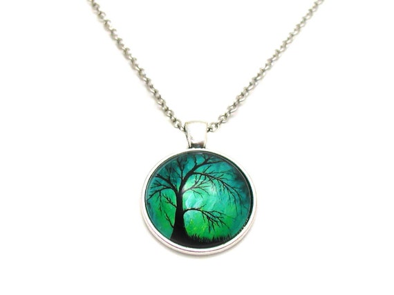 Willow Tree Necklace Picture Necklace Forest Charm Necklace