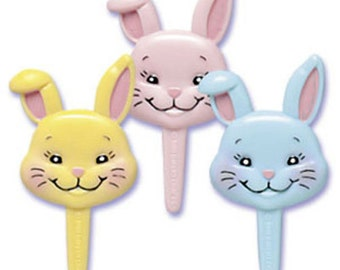 24 Smiling Bunnies Cupcake Picks Cake Toppers Easter Rabbit Party Supplies