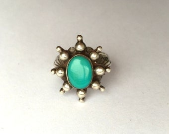 Vintage Mexican Silver and Turquoise Starburst Ring