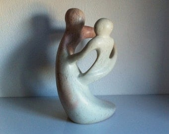 Vintage Besmo Abstract Cream Blush Marble Sculpture Mother With A Child
