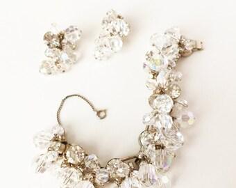 Statement Bracelet and Earrings, Aurora Borealis Bracelet, Aurora Borealis Earrings,  Bridal Bracelet, Bridal Earrings, Bridal Jewelry Set