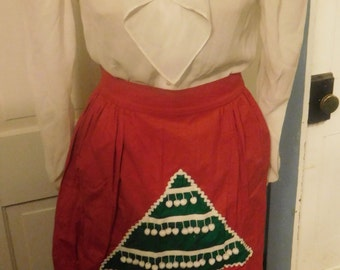 Vintage Christmas Apron, Green Christmas Tree w/ Pompoms, Solid Red