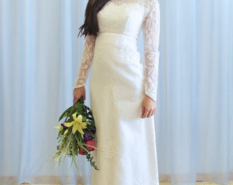 La Nicole - 1960s lace empire waist wedding dress
