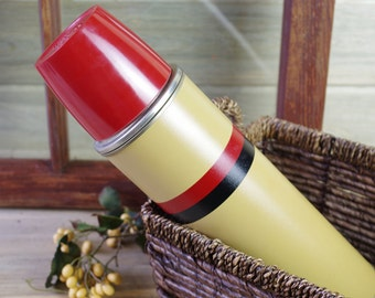 Vintage 1950s Thermos Hot and Cold, THERMOS B34QA Cork Top, Tan Red Black, Coffee Tea Soup, Vintage Beverage Thermos, Drinkware #7-21