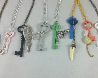 Final Fantasy XIII / XIII-2 / Lightning Returns Character Inspired Key and Charm Pendant Necklaces - All Main Characters