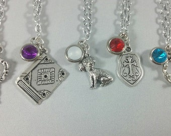 Disney Descendants Inspired Mini Jewel and Charm Necklaces - 5 Characters - Jay, Carlos, Evie, Mal, Ben
