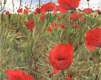 ON SALE Original Poppy field watercolor painting. Poppy picture. Poppy painting. Watercolor poppies. Floral watercolor. Poppy wall art.